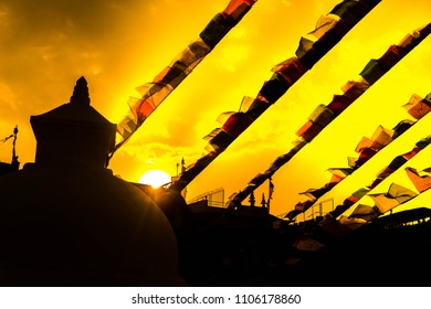 Prayer flags in sunset