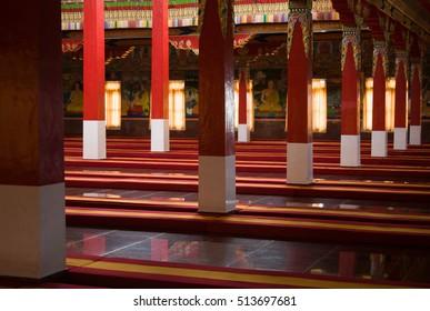 The prayer hall inside the buddhist monastery at Kushalnagar, India.