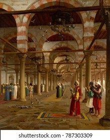 PRAYER IN THE MOSQUE, by Jean-Leon Gerome, 1871, French painting, oil on canvas. Islamic men praying in Mosque of \xE4Amr, Cairo. It is an imagined scene, likely created from composite of sketches