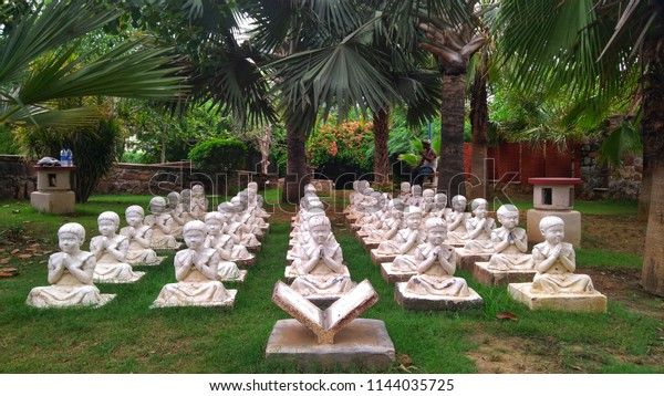 Prayer Peace Statues Placed Garden Place Stock Photo (Edit