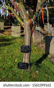 Prayer ribbons on a tree in a graveyard cemetery with signs attached