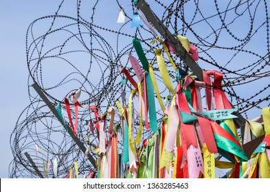 Prayer ribbons tied to the fence, Imjingak in Paju South Korea, Demilitarised Zone (DMZ)