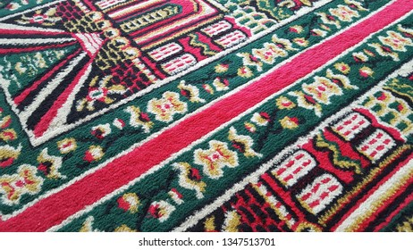 Prayer rug in the mosque with mosque ornament. Symbols of Islam, and places of worship during Ramadan