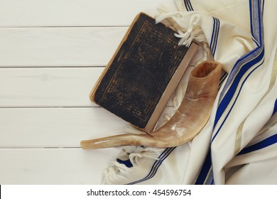 Prayer Shawl - Tallit and Shofar (horn) jewish religious symbol