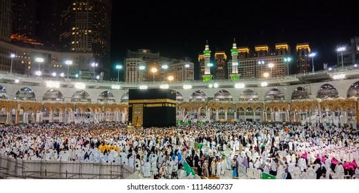 Prayer and Towaf  circumambulation-of muslims Around AL kaabah in macca Saudi-27 April 2018