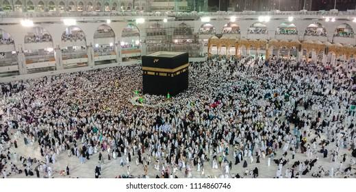 Prayer and Towaf  circumambulation-of muslims Around AL kaabah in macca Saudi-27 April 2018,makkah nigth,