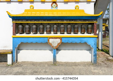 Prayer Wheels at Rumtek Monastery, also called the Dharmachakra Centre, Gangtok, Sikkim, India.
