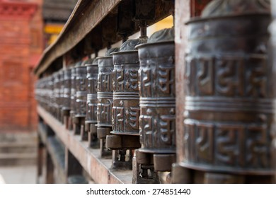 Prayer Wheels at Swayambhunath Temple in Kathmandu
