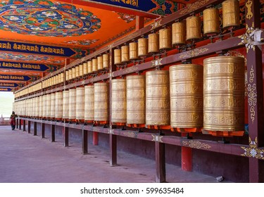 Prayer wheels at Yarchen Gar in Sichuan, China. Yarchen Gar is the largest concentration of nuns and monks in the world.