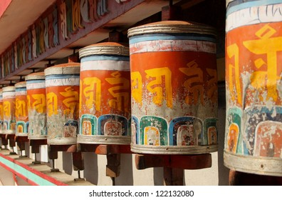 Prayer wheels at Zang Dhok Palri Phodang, a Buddhist monastery in Kalimpong in West Bengal, India.