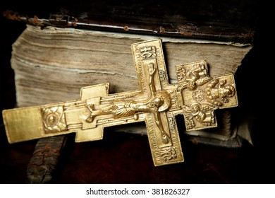 Prayer-book in Old Russian and big orthodox cross