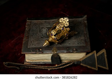 Prayer-book in Old Russian on dark red background
