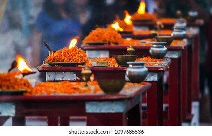 prayers( aarti) offered by lightened lamps to beloved ganges at the river bank of rishikesh