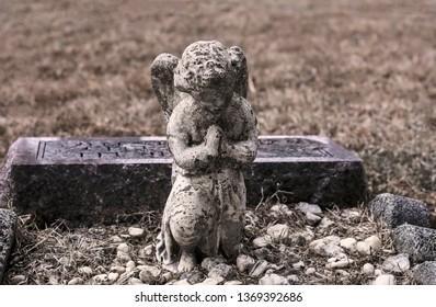 Praying Angel Tombstone Marker