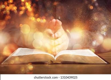 Praying bible spirituality human hand preacher religion