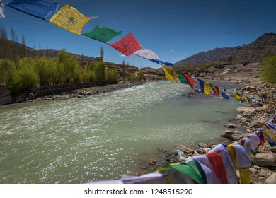 Praying flags floating in the wind in Leh, Ladakh, India.