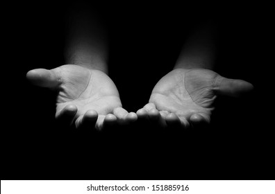 Praying Hands in black and white