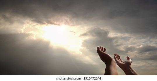 praying hands of a man for blessings his god on the sunset. People of all religions, Christians, Muslims, Buddhists humility their believed God and hope for life love  world peace, sun rays background - Shutterstock ID 1515472244
