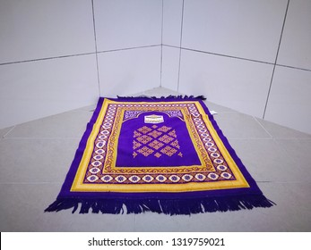 Praying mat rug or sajdah or sejadah used by muslim in mosque or pilgrim