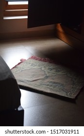 Praying mat rug or sajdah or sejadah used by muslim in mosque or pilgrim during hajj umrah. Concept of faith.