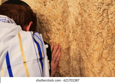 Praying near the Wailing Wall during the Feast of Passover