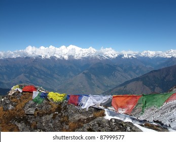 Praying-flags on the mountains of Nepal