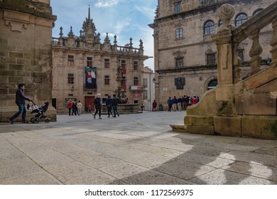 Praza das Praterías - A place at the Oldtown in Santiago de Compostela in the front of the Cathedral. Many Pilgrims pass this place after finishing the way of st james.