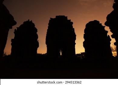 Pre Angkorian Phnom Krom temple at dusk