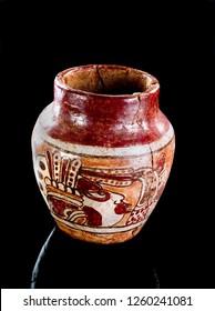 Pre Columbian Mayan Warrior vase made around 600-1000 AD.
