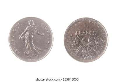 Pre EEC French half Franc coin isolated on white
