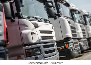 Pre Owned Euro Trucks For Sale. Row of Trucks with Shallow Depth of Field.