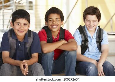 Pre teen boys in school