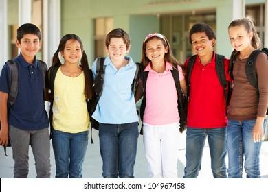 Pre teen children at school