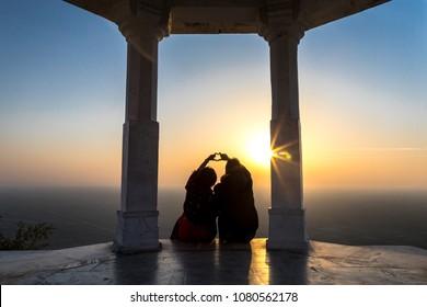 Pre wedding photo captured during sunrise at Sambhar salt lake, Rajasthan