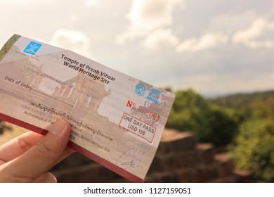 PREAH VIHEAR, CAMBODIA. 2018 Jun 20th. A Entrance Ticket in the Hand, at Preah Vihear Temple.