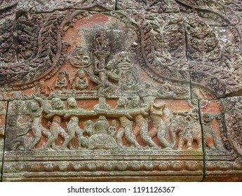 Preah Vihear Temple, view of ancient mural of the Shiva goddess story, the Hindu temple reign of Khmer Empire, Preah Vihear province, Cambodia.
