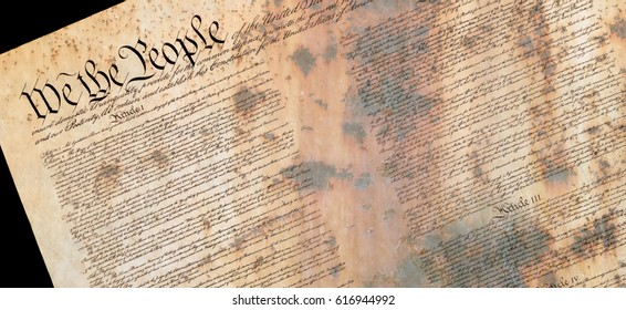Preamble of the Constitution of the United States with US Flag