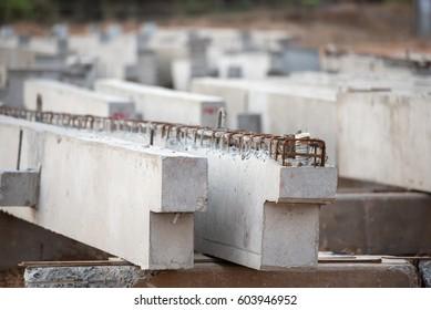 precast concrete beam in factory construction site