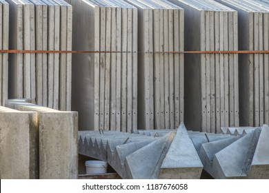 Precast concrete calls in rack on stockyard area of a precast concrete manufacturer