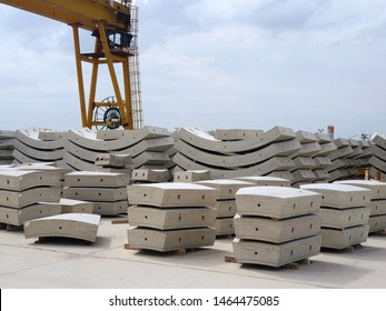 Precast concrete plant with blue sky in the construction site, in storage yard area at Thailand, Space for text in template, Concrete Tunnel Segments