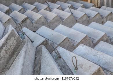 Precast Concrete Stairs in panel stock at precast concrete manufacturing plant