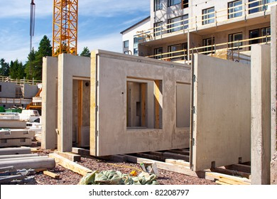 Precast concrete wall panels in the construction site ready to use