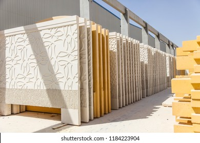 Precast concrete walls in the stockyard in manufacturing plant