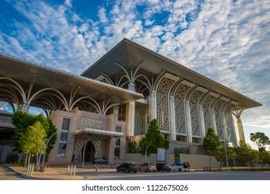 Precinct 3, Putrajaya, Malaysia - Circa June 2018 - A perpsective shot of Tuanku Mizan Zainal Abidin Mosque aka Masjid Besi in Putrajaya, Malaysia on a very sunny day