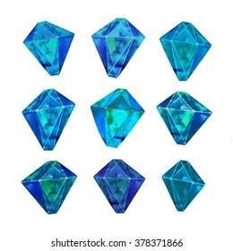 Precious blue gemstone set. Hand drawn beautiful aquamarine crystals.