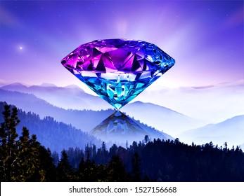 precious crystal clear diamond sparkling in the purple sky