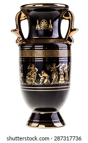 a precious gilded greek vase isolated over a white background
