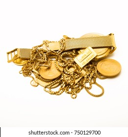 precious gold objects on white background