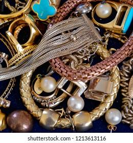 precious jewelry top view closeup, shiny background