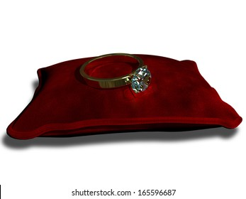 precious ring with a stone on a red cushion